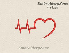 Heartbeat Line Machine Embroidery Design medical Heart beat