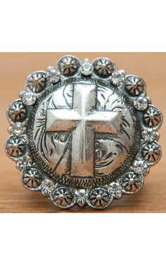 M Products Silver Cross Concho Stretch Ring