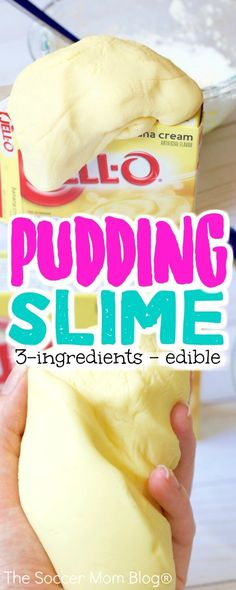 A soothing cross between slime and play dough, this edible pudding slime recipe smells almost good enough to eat! (And it's taste-safe!) Only 3 ingredients and taste safe! This fun edible pudding slime recipe is perfect sensory play for all ages! Toddler Fun, Toddler Crafts, Diy Crafts For Kids, Toddler Activities, Projects For Kids, Fun Crafts, Simple Crafts, Craft Ideas, Sensory Activities