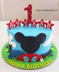 Disney Mickey Mouse club house theme handcrafted, designer cake for boy's 1st birthday at Pune
