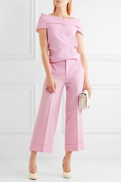 Roland Mouret Crew Cropped Wool Crepe wide leg pants + Matching Top| Net- a - porter