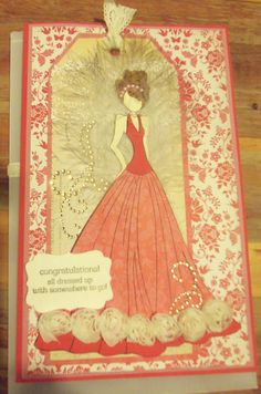 Julie Nutting Doll stamp and tag on a card