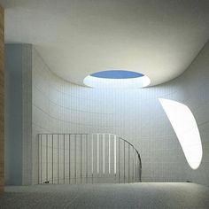 Rendering of flush skylight made from concrete blocks applied vertically via b.e_architecture