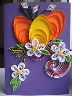 Karten Basteln-Papier-Blumen Motive-Bunt ornamente-ideen