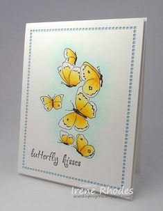 Stamps: My Favorite Things LJD Birthday Greetings (sentiment) and Sizzix Hero Arts Butterflies Supplies: Sizzix Hero Arts Butterflie. Impression Obsession Cards, Butterfly Kisses, Hero Arts, Birthday Greetings, I Card, Sunlight, Stampin Up, Create, Projects