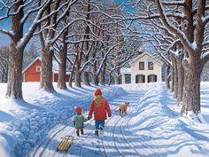 A Time to Share ~ John Sloane Winter Szenen, Winter Walk, Winter Magic, Christmas Scenes, Christmas Art, Arte Country, Farm Art, Winter Painting, Snow Scenes