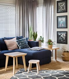 Living Room with Navy Blue Curtains - Living Room : Home Decorating Ideas Living Room Without Tv, Big Living Rooms, Living Room Sofa, Living Room Decor, Dining Room, Apartment Interior Design, Interior Design Living Room, Living Room Designs, Navy Blue Living Room