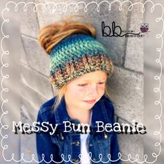 Messy Bun Crochet Beanie  Made to Order  Toddler by BeccasBeanies