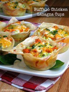 Buffalo Chicken Lasagna Cups | alidaskitchen.com