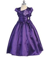 Amazing sequined one shoulder top complemented by a satin skirt and bow. Features One Shoulder, Shiny Sequence Top, Shiny Satin Skirt, Satin Waistline cover with Bow Satin Skirt, Satin Dresses, Sequin Dress, Formal Dresses, Girls Dresses, Flower Girl Dresses, One Shoulder Tops, Purple Dress, Jacket Dress