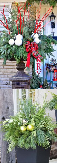 Designer Desire: Monty Don This week's Designer Desire post is a little different; we're featuring a garden designer. Monty Don is a national treasure to British gardening devotees. Christmas Urns, Christmas Planters, Christmas Arrangements, Outdoor Christmas Decorations, Christmas Centerpieces, Christmas Holidays, Christmas Wreaths, Christmas Crafts, Holiday Decor