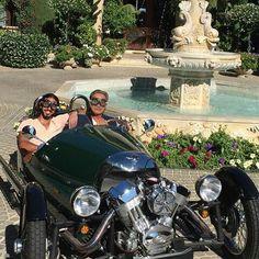 Leaving my Los Lagos, Granite Bay Estate with HH Sultan Khalifa Al Nahyan in my Morgan three-wheeler