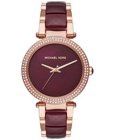 Michael Kors Womens Parker Two-Tone Stainless Steel and Acetate Bracelet Watch 39mm MK6412