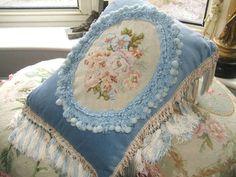 Beautiful shabby chic vintage French needlepoint pillow / cushion