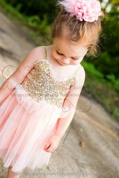"""Krysta"" Blush and Gold Sequin & Tulle Princess Dress - Summer Pre-Order"