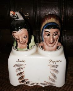 Great Set of Vintage Indian Nodders Salt & Pepper Shakers ! Salt Pepper Shakers, Salt And Pepper, Indian Ceramics, Whimsical, Princess Zelda, Fancy, Stuffed Peppers, Collections, Ebay