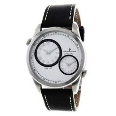 Stainless steel watch with a leather strap and silver case.  Product: WatchConstruction Material: Stainless steel and leatherColor: Silver and blackFeatures:  Swiss quartz movementScratch-resistant mineralWater resistant up to 5 ATM - 50 meters - 165 feet