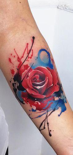 watercolor rose tattoo © tattoo artist Marco Pepe 💙🌹💙🌹💙🌹💙🌹💙