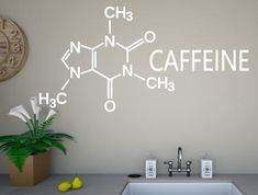 A kitchen wall sticker that visually depicts the chemical structure of caffeine The stickers are individually cut from premium grade wall art vinyl Chemical Structure, Kitchen Wall Stickers, Vinyl Wall Art, Honeycomb, Caffeine, Adhesive, School, Home Decor, Schools