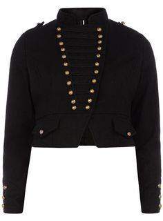 Black military button jacket