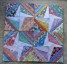 "16 Mini Quilt Blocks Scrappy Stars 3 1 2"" ea Aunt Grace 30s Jumayquilts | eBay"