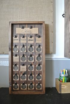 Kid's Chore Chart Wooden Chore Chart Rustic Chore by DecoratedRoom Chore Board, Work For Hire, Chore Chart Kids, Family Chore Charts, Woodworking Clamps, Woodworking Tips, Woodworking Furniture, Woodworking Images, Intarsia Woodworking