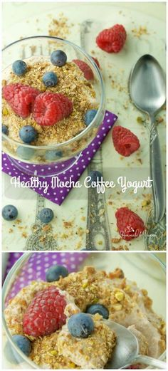Healthy Mocha Coffee Yogurt Recipe is great for breakfast, lunch or even dessert. Quick, easy, and nutritious.|homemadeandyummy.com