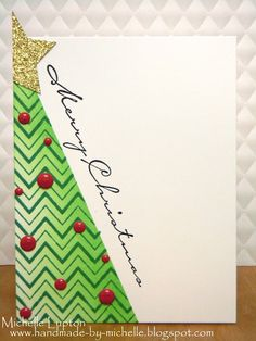 Handmade by Michelle: Zig Zag Christmas Tree Homemade Christmas Cards, Christmas Cards To Make, Noel Christmas, Xmas Cards, Diy Christmas Gifts, Homemade Cards, Handmade Christmas, Holiday Cards, Paper Cards