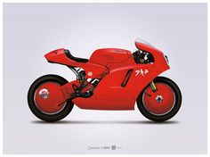 Ducati x Akira custom motorcycle illustration poster, print 18 x 24 inches by GP101, $38.00