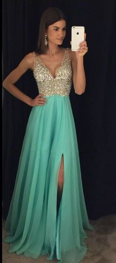 Long Jeweled Prom Dress with Side Slit