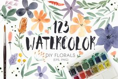 123 DIY Watercolor Flowers (EPS,PNG) by Favete Art on Creative Market