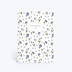 Personalised Forget-Me-Not Scatter Notebook designed by MR Studio London. notebook contains 96 leaves of white, lined paper with a hardback cover and a silk finish. Portrait notebook measures x and can be fully personalised on the front. Plain Notebook, Lined Notebook, A5 Notebook, Notebook Covers, Stationary, Invitation, Project Planner, Planning Your Day, Flowers