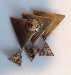 Handcrafted Modernist Pin Brass Triangular Shapes with Leopard Skin Jasper #Handmade