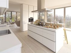 While the minimalist kitchen furniture of the brand may seem simple at first glance, typical features of a Bulthaup kitchen design are the clean lines Kitchen Design Open, Contemporary Kitchen Design, Interior Design Kitchen, Modern Design, New Kitchen, Kitchen Dining, Kitchen Decor, Kitchen Ideas, Kitchen White