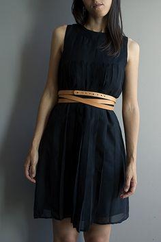 machado handmade black dress with belt