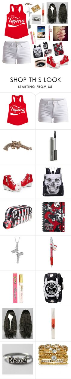 """""""Untitled #472"""" by michael-jackson-junkie ❤ liked on Polyvore featuring Pieces, Chanel, MAC Cosmetics, Hello Kitty, Ed Hardy, Nemesis, Samsung, Stila and Accessorize"""