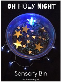 Oh Holy Night Sensory Bin - kids are always attracted with light, like fireflies! :) They would love having this shiny sensory bin set for Christmas for sure! Sensory Activities Toddlers, Sensory Bins, Sensory Play, Activities For Kids, Preschool Christmas, Christmas Activities, Christmas Art, Christmas Lights, Best Toddler Toys