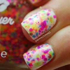 summer paint splatter nail art... neon