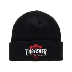 ca2e058220f HUF Beanie Thrasher TDS Black ( 20) ❤ liked on Polyvore featuring  accessories