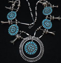 Old Pawn TURQUOISE Sterling SQUASH BLOSSOM CLUSTER Navajo Indian Jewelry D L W