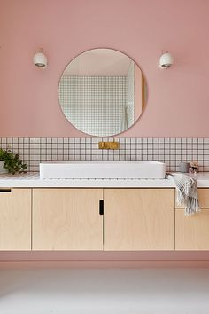 Interior stylist Emma O'Meara's colourful home with bold ideas - An interior stylist with a passion for all things bold and beautiful has created a unique haven for her family in coastal Victoria. Bathroom Colors, White Bathroom, Pink Bathrooms, Bathroom Ideas, Bathroom Mirrors, Bathroom Cabinets, 1930s Bathroom, Pink Bathroom Tiles, Pastel Bathroom