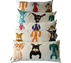 Illustrated Dog Cushions.  via Dog-Milk