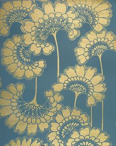 'Japanese Floral' wallpaper in 'Stormy Seas' by Florence Broadhurst, produced by Signature Prints Japanese Textiles, Japanese Patterns, Japanese Prints, Japanese Design, Japanese Art, Japanese Lotus, Japanese Painting, Japanese Fabric, Traditional Japanese