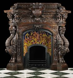 Antique Spanish Mannerist fireplace mantel in carved wood.  A lot going on here....