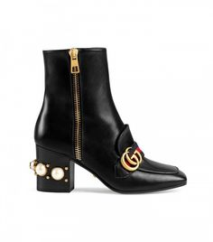 Gucci Leather Mid Heel Ankle Boots