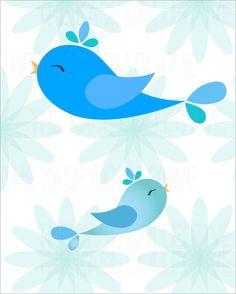 Modern Bird Pairs Nursery Art For Children by TheKaseCollective