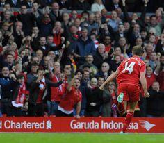 Great shot of Jordan Henderson celebrating his winning goal against West Brom. #LFC