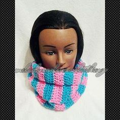 Women's Hot Pink/Turquoise Large Striped Infinity Scarf www.melodycadenzaclothing.com #Crochet #Handmade #Beanie