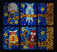 Owl mosaic glass on glass window by Meaco's Art Garden, via Flickr