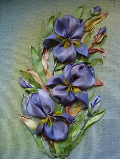 Iris in silk ribbon with painted throats.